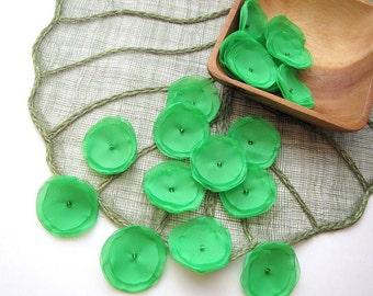 Sheer voile flower appliques, fabric flower embellishments  (15pcs)- SHAMROCK GREEN BLOSSOMS