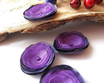 Tiny and Thick... Handmade organza satin sew on flower appliques (4pcs)-  LUSCIOUS PURPLE