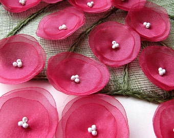 Organza sew on flower appliques, fabric flowers, floral embellishments, handmade fabric flowers for crafts (15pcs)- RASPBERRY PINK BLOSSOMS