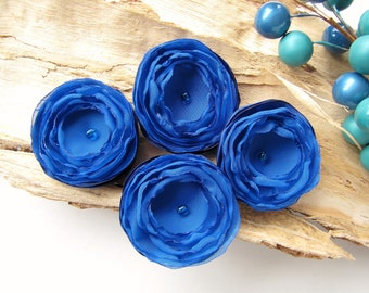 Tiny and Thick...Handmade organza satin sew on flower appliques (4pcs)-  ROYAL BLUE BLOSSOMS