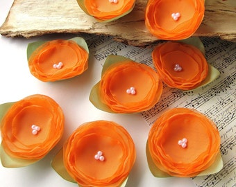 Fabric flower appliques, floral embellishments, sheer voile flowers, handmade supplies, floral appliques (6 pcs) - Orange Roses With Leaves