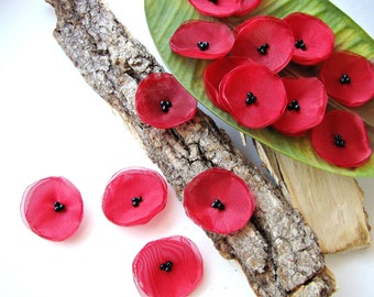 Handmade organza sew on flower appliques (20 pcs)- MINI RED POPPIES