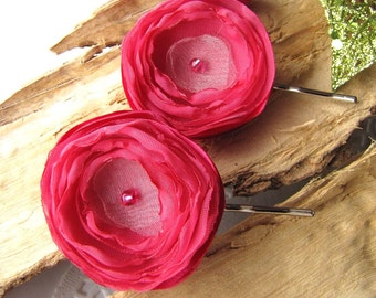 Handmade bobby pins with fabric flowers (set of 2 pcs) - HOT PINK BLOSSOMS