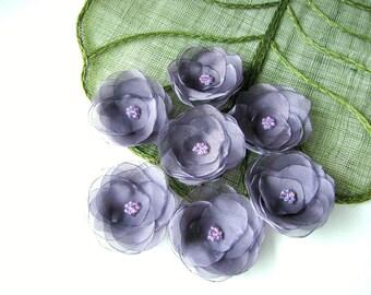 Fabric Flowers- Water Lilies- Handmade organza sew on appliques (5 pcs)- METALLIC SMOKY AMETHYST
