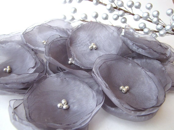 NEW STYLE- Handmade organza sew on flower appliques (14pcs)- ASH GRAY