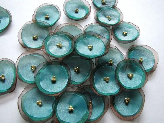 Handmade organza sew on flower appliques (15 pcs)- PEACOCK INSPIRED (Last set)