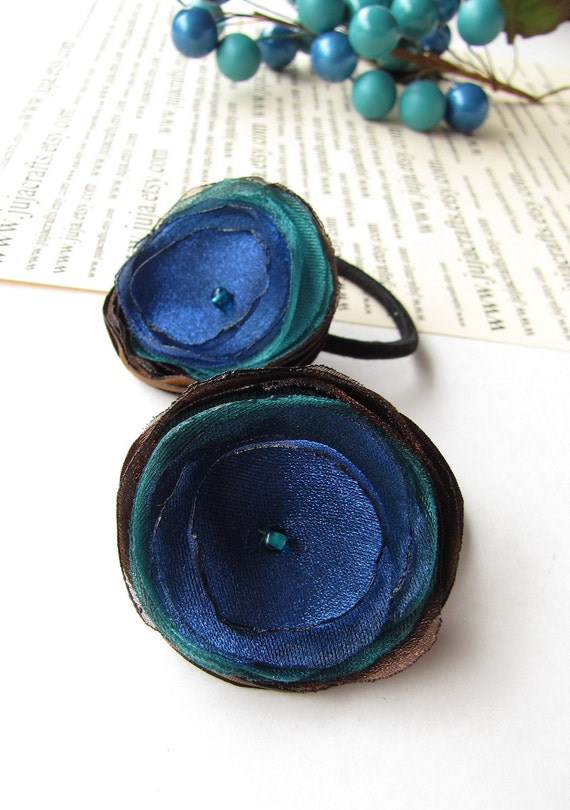 Ponytail holders with handmade satin and organza flowers (set of 2pcs)- PEACOCK BLOSSOMS (h33)