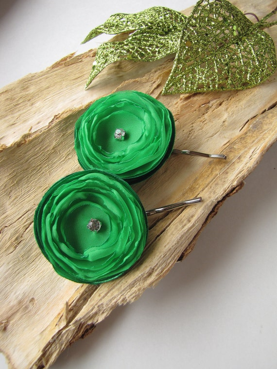 Floral hair pins, bobby pins with flowers, sheer voile flowers, fabric flowers (set of 2 pcs) - LUSCIOUS SHAMROCK GREEN (with rhinestones)