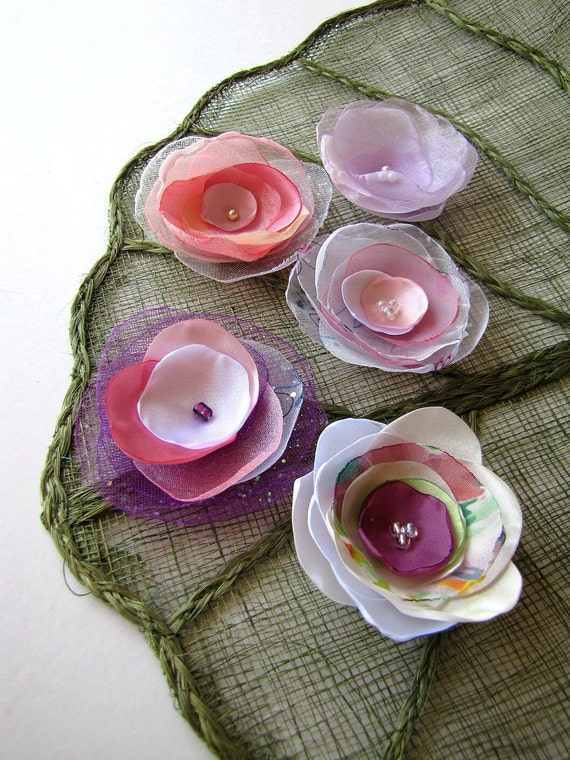 Handmade organza satin sew on flower appliques (5 pcs)- OOAK Destash Bag in Assorted Colors (mix set 184)- Shades of Pink
