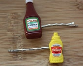 Backyard BBQ Condiments Hairpins Delicious Ketchup and Mustard