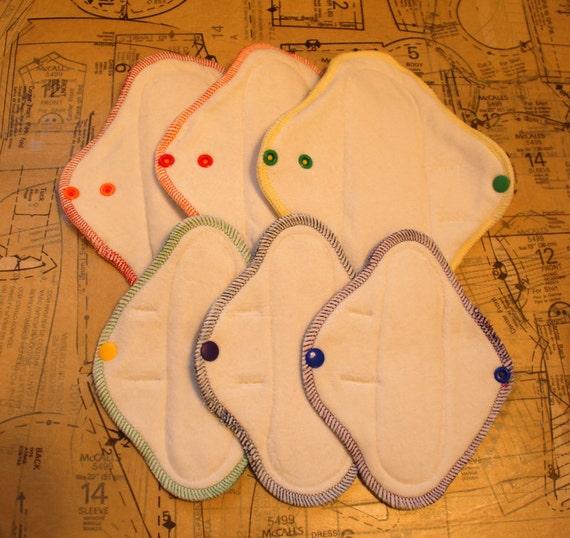 cloth menstrual pad set - 3 mini pads with 3 pantyliner pads - teen set