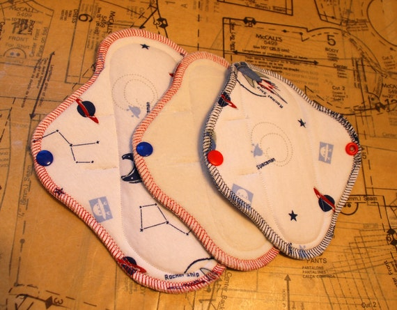 cloth menstrual pad set - 1 mini pad with 2 pantyliner pads - teen set