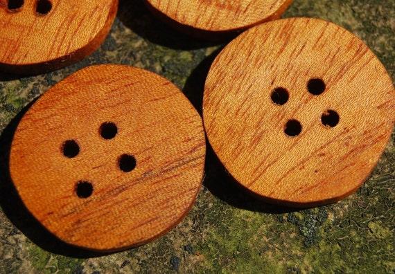 4 Handmade Reclaimed Mahogany Wood Buttons, 1 Inch (25 mm), 4 Holes
