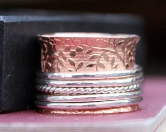 Copper and Sterling Silver Spinner Ring, Mixed Metal Ring, Handmade, Made To Order