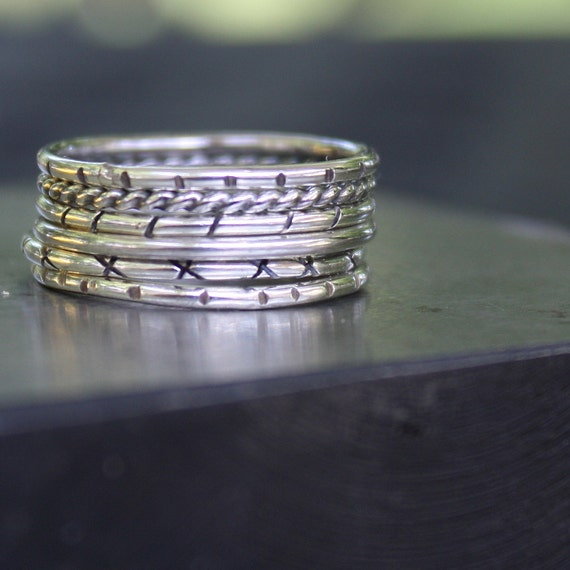 Set of 6 Sterling Silver Stacking Rings