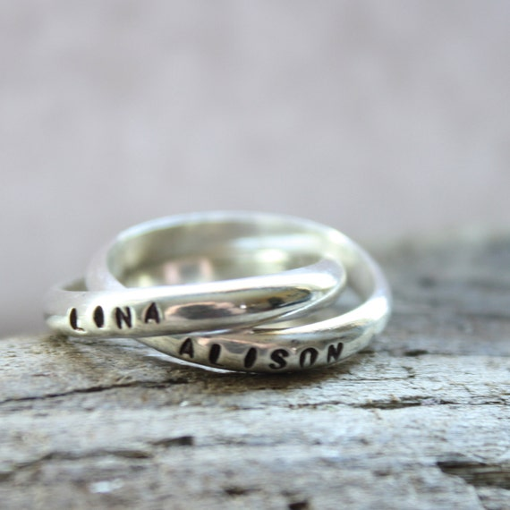Hand Stamped Intertwined Mothers Ring