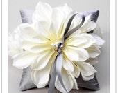 SUNBURST series - cream bloom on silver silk dupioni wedding ring pillow