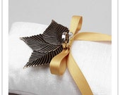 ANTIQUE LEAVES - antique gold leaves on cream silk dupioni ring pillow -READY TO SHIP-