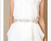 DESTINY sash - silver hand-beaded applique bridal sash