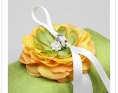 ABIGAIL - canary yellow flower on green silk dupioni wedding ring pillow