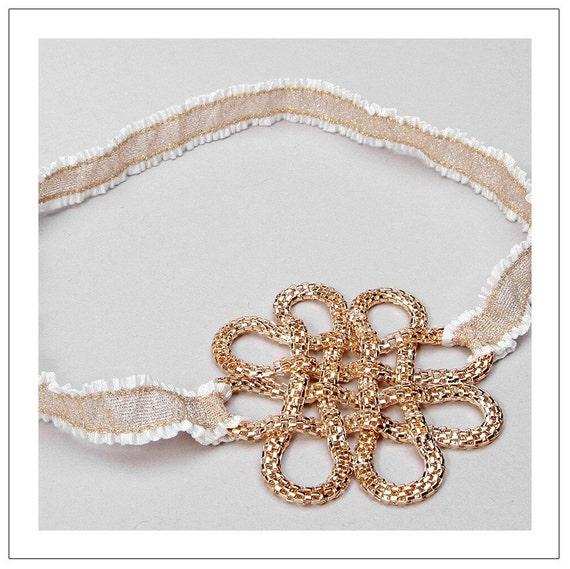 CHAIN CHARM series - gold chain twist charm bridal garter - READY TO SHIP