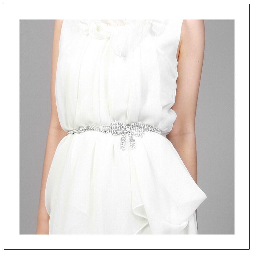 bow belt silver plated chain dress belt