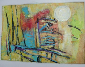 LET IT BE No 52  - Original Abstract Painting - 5x7 inches, Matted