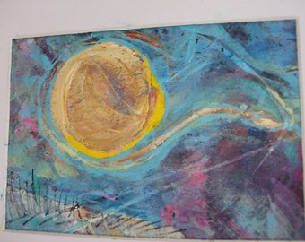 LET IT BE No 33 - Original Abstract Painting, 5x7 inches, Matted