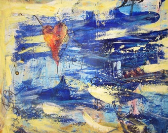 Original Abstract Painting Modern Art Contemporary Pop Heart 4x24 inches
