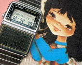 Traveling with my vintage calculator data bank watch, CASIO in Silver