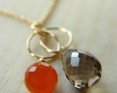 Topaz Carnelian Gold Necklace - interlocking circle chain