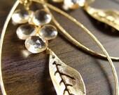 Citrine Leaf Hoop Earrings 14k Gold