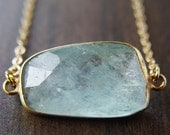 SALE Aquamarine freeform necklace, 14k Gold Filled
