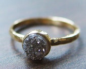 Silver gray druzy Ring in 14k Gold