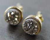 Druzy Post Earrings Dainty Gold Filled Stud