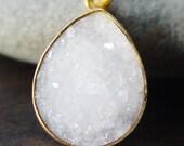 Vanilla Teardrop Druzy Gold Necklace