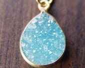 Teal Druzy Gold Necklace