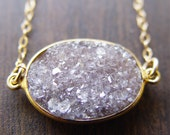 RESERVED for Erin: Mocha druzy gold necklace
