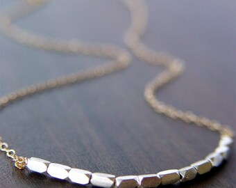 SALE Silver Nugget Necklace - Mixed Metal Gold & Sterling