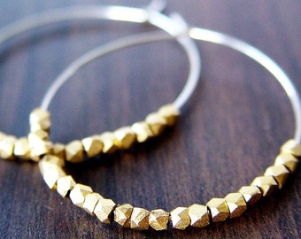 SALE Gold Silver Nugget Hoops Earrings