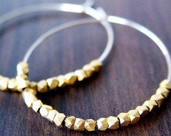 SALE Gold Silver Nugget Hoops Earrings