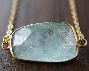 SALE Aquamarine freeform Gold necklace