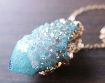 SALE Spirit Aqua Aura Quartz Drusy Gold Dipped Necklace