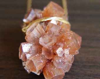 ON SALE Peach Aragonite Gold Necklace  -  Crystal Mineral Stone