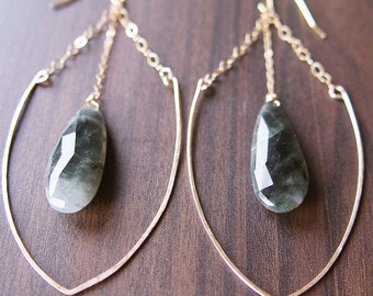 SALE Labradorite horseshoe Gold Earrings