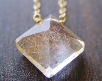 SALE Pyramid Rutilated Quartz Gold Necklace