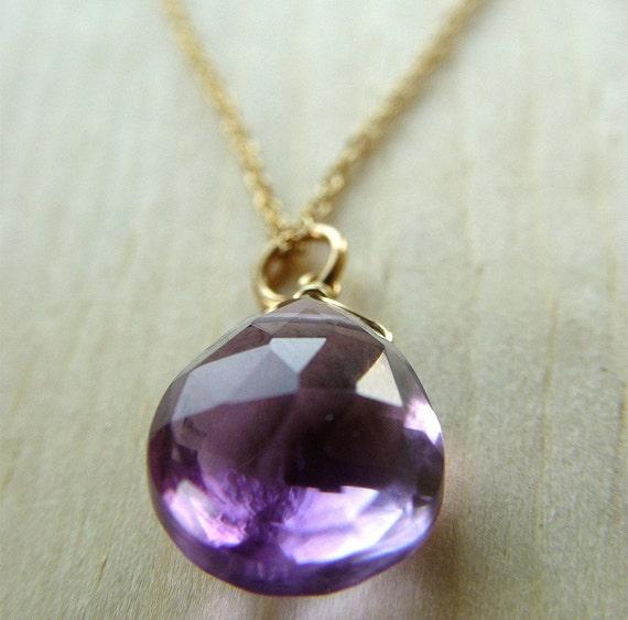 Pink Amethyst Drop Necklace