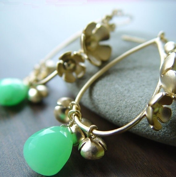 Precious flower green chrysoprase gold Earrings