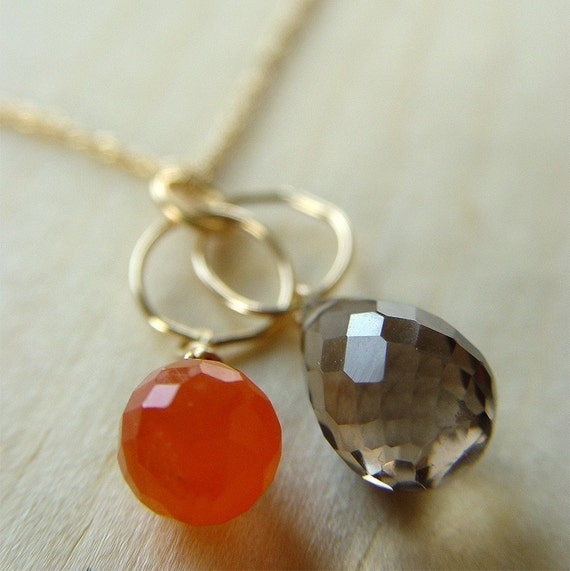 Topaz Carnelian Gold Necklace - interlocking circle chain