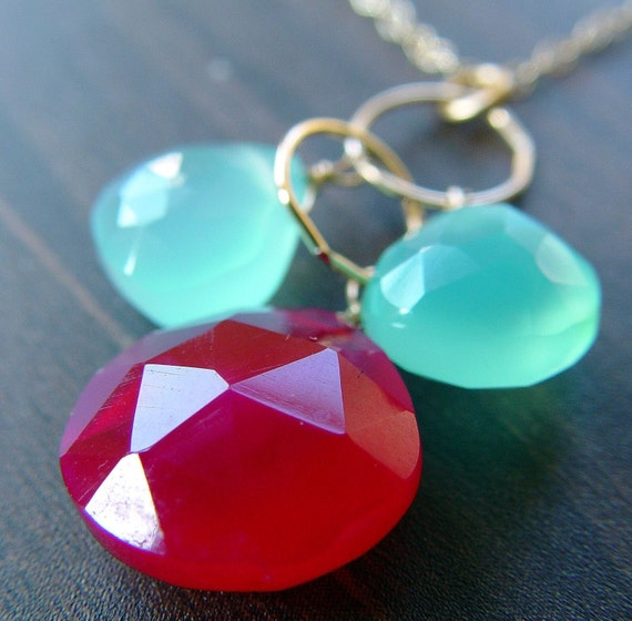 Ruby Aqua Cluster Necklace 14k gold interlocking chain